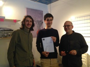 David Farrús (left) and Miquel Llobet (center) the winners of Hack The Ride First Prize